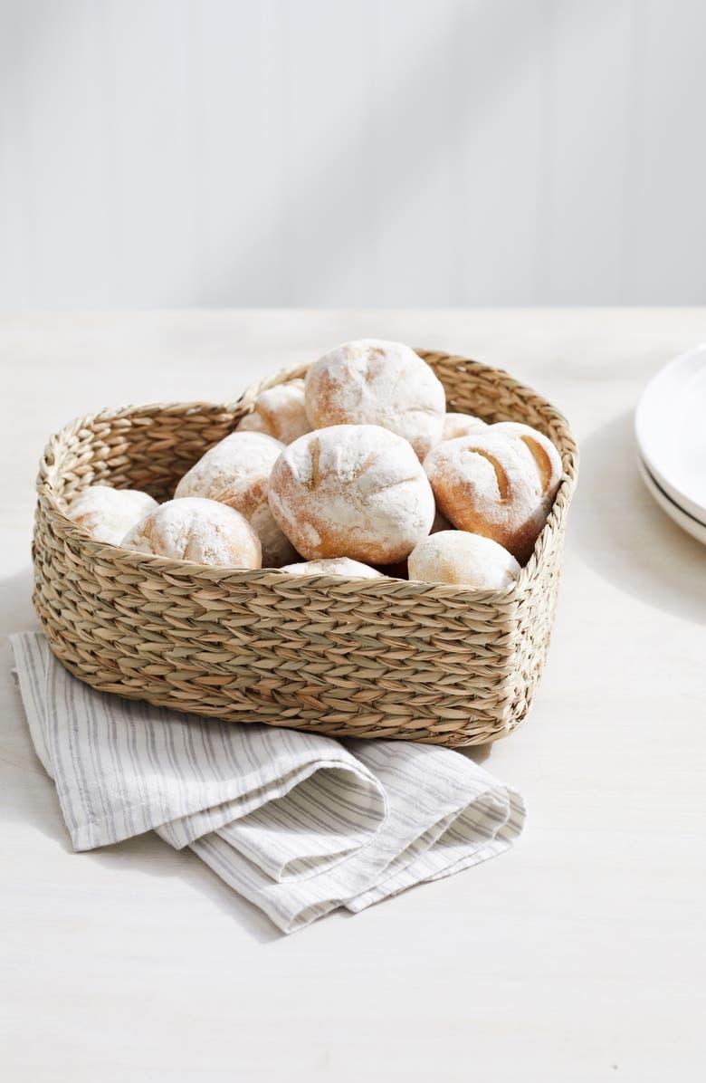 THE WHITE COMPANY Heart Seagrass Bread Basket, Main, color, NATURAL