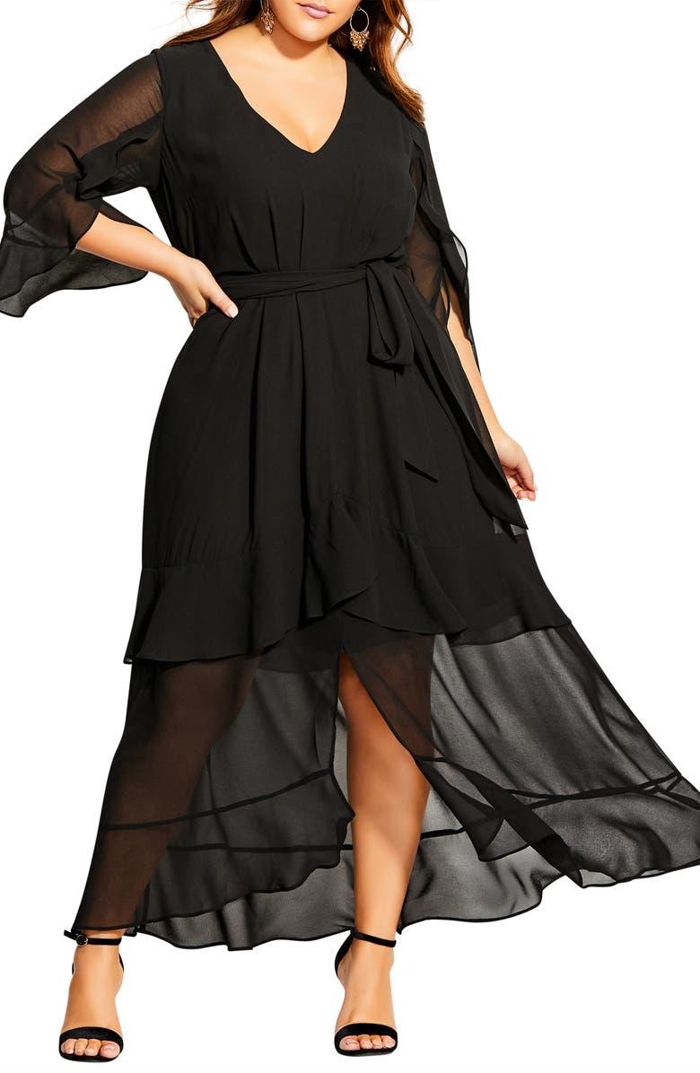 CITY CHIC Romantic Ruffle Maxi Dress, Main, color, 001