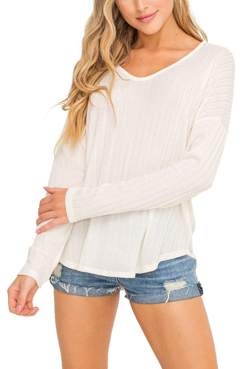 ALL IN FAVOR Pointelle Top, Main, color, CREAM