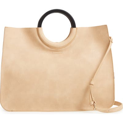 Bp. Wood Handle Faux Leather Tote - Beige
