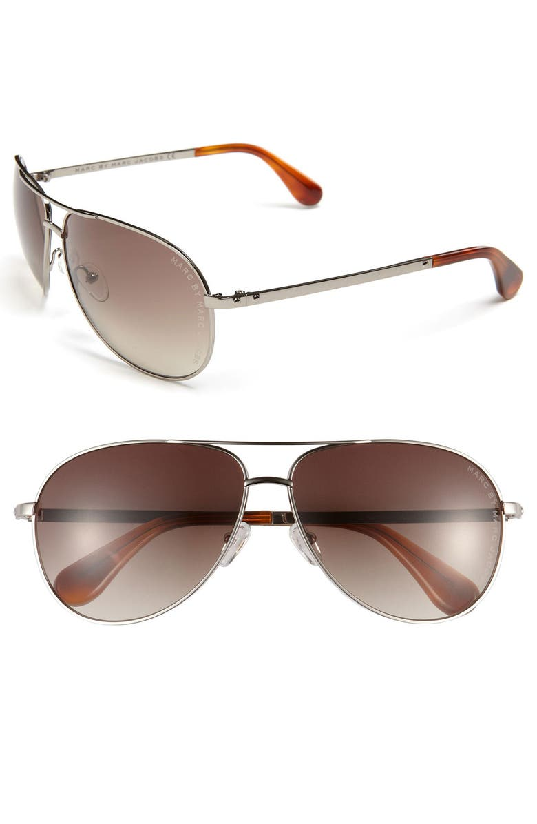 MARC BY MARC JACOBS 62mm Aviator Sunglasses, Main, color, 020