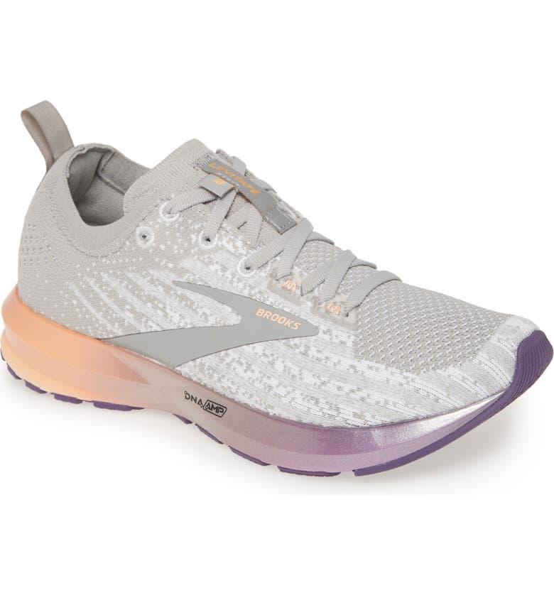 BROOKS Levitate 3 Running Shoe, Main, color, WHITE/ PURPLE/ CANTALOUPE