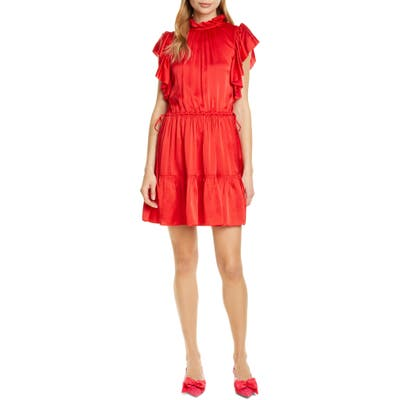 Kate Spade New York Tiered High Neck Silk Blend Dress, Red