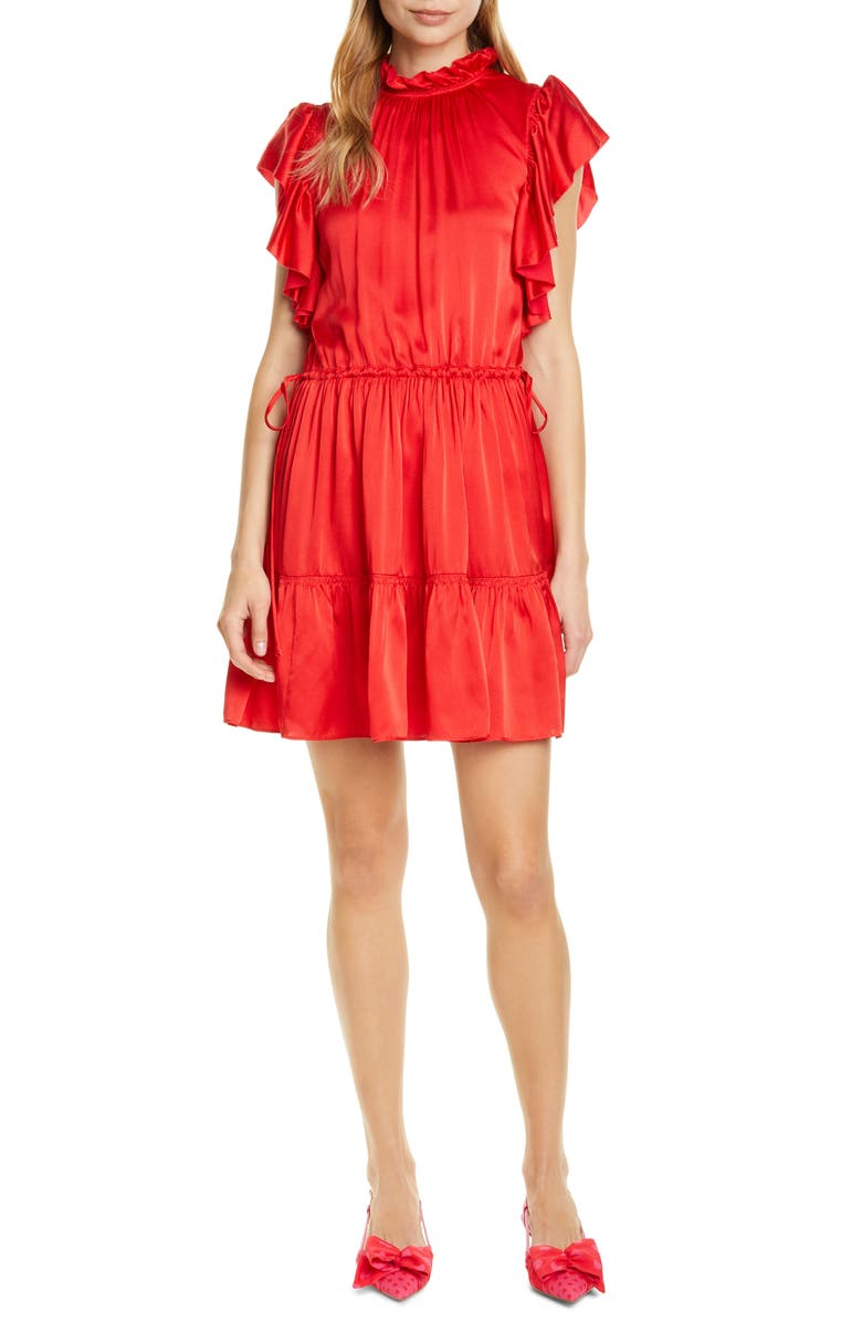 KATE SPADE NEW YORK tiered high neck silk blend dress, Main, color, 627