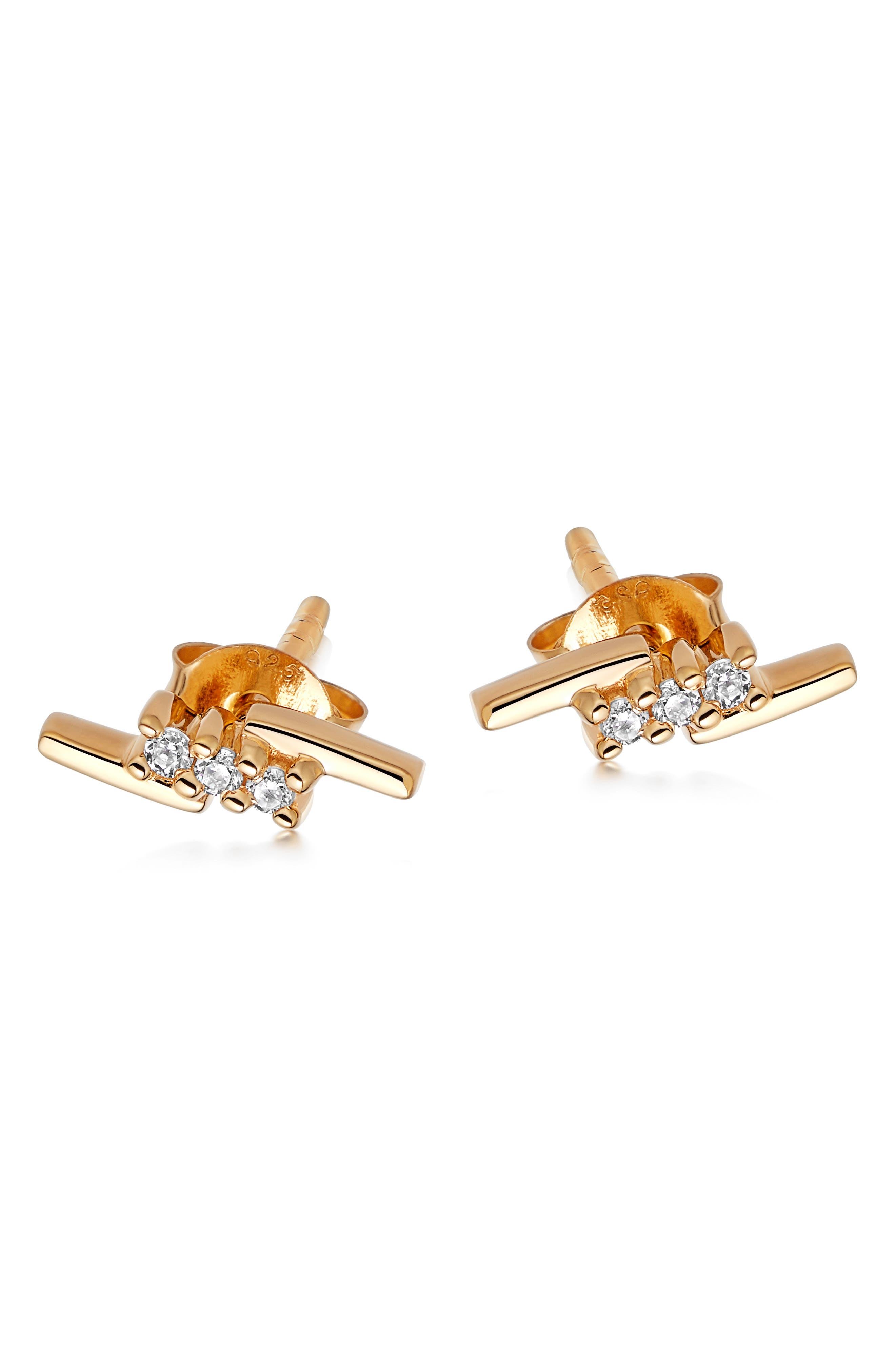 Pave Cubic Zirconia Lightning Stud Earrings