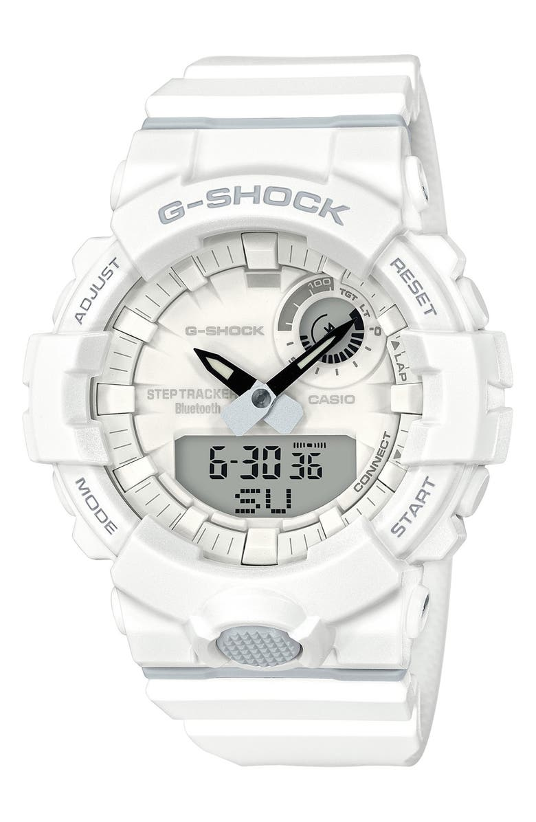 G-SHOCK BABY-G G-Shock Steptracker Bluetooth<sup>®</sup> Enabled Resin Strap Watch, 49mm, Main, color, WHITE