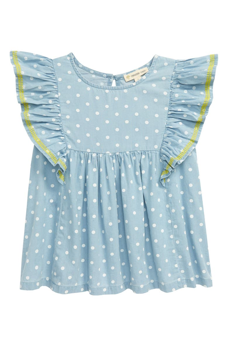TUCKER + TATE Dotted Chambray Top, Main, color, PACIFIC DOT WASH