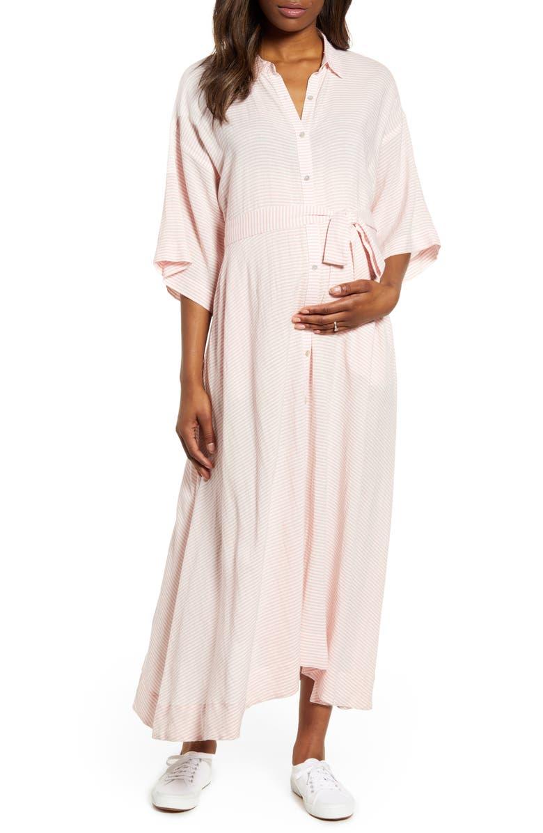 HATCH Elsa Belted Shirtdress, Main, color, ROSE STRIPE