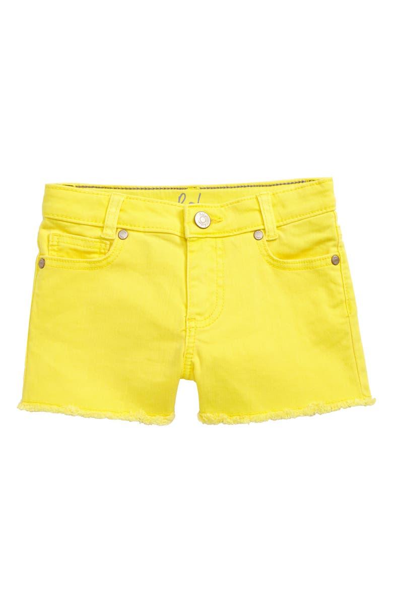 MINI BODEN Cutoff Denim Shorts, Main, color, YEL SUNSHINE YELLOW