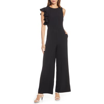 Julia Jordan Hunter Crepe Ruffle Shoulder Jumpsuit, Black