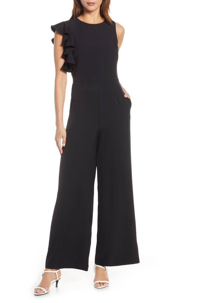 JULIA JORDAN Hunter Crepe Ruffle Shoulder Jumpsuit, Main, color, BLACK