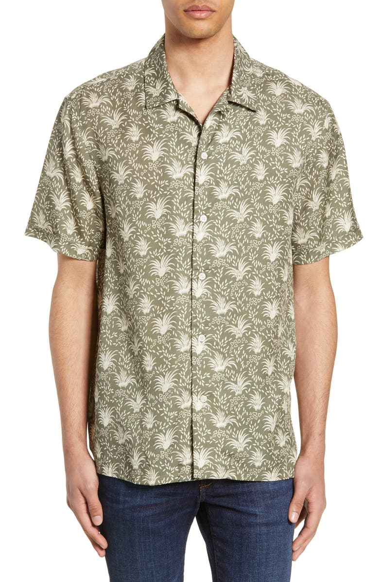 FRENCH CONNECTION Palm Print Camp Shirt, Main, color, DUSTY OLIVE WHITE CAP GREY