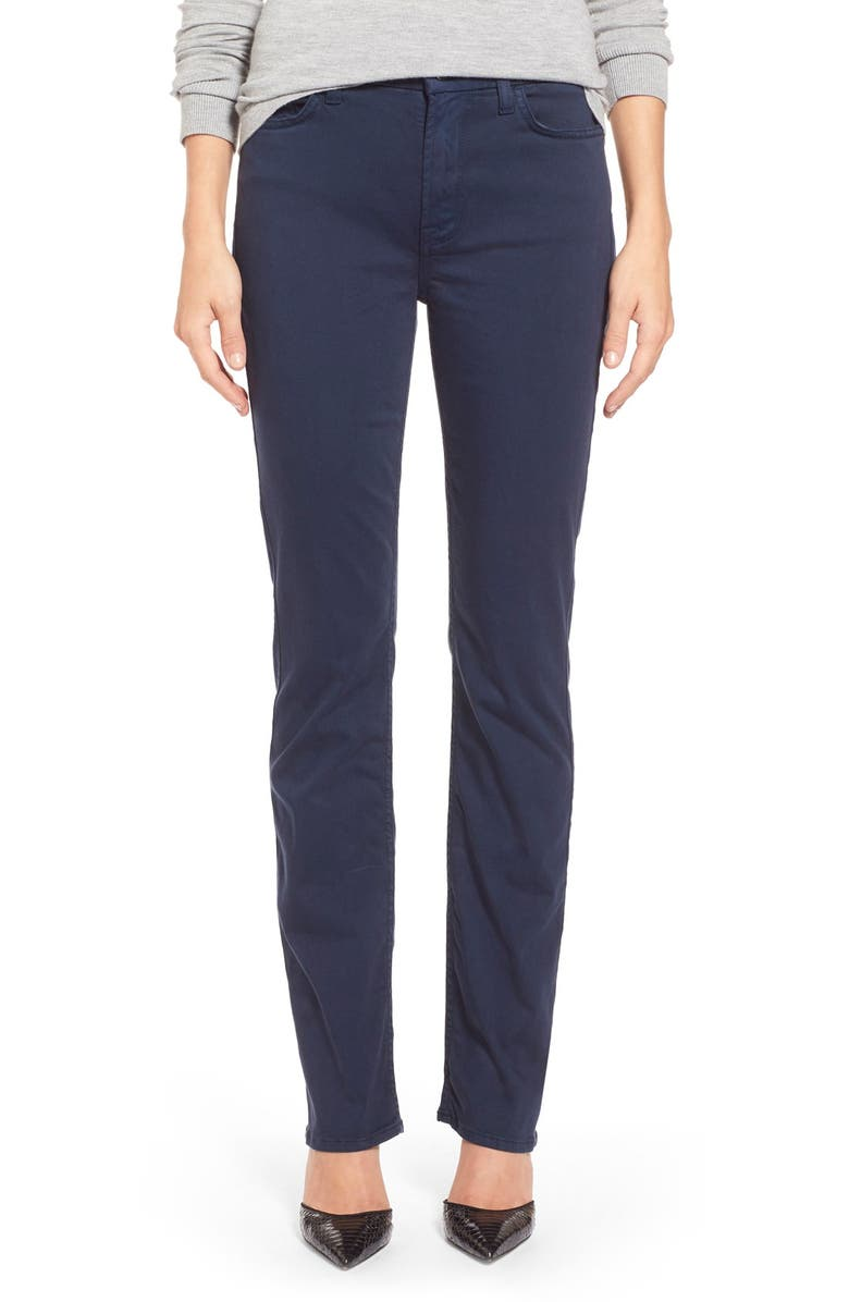 JEN7 BY 7 FOR ALL MANKIND Stretch Sateen Slim Straight Leg Pants, Main, color, NAVY BLUE