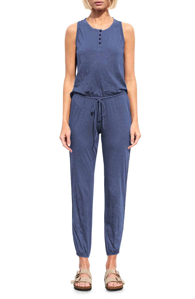 SUNDRY Sleeveless Racerback Jumpsuit, Main, color, PIGMENT SHADOW