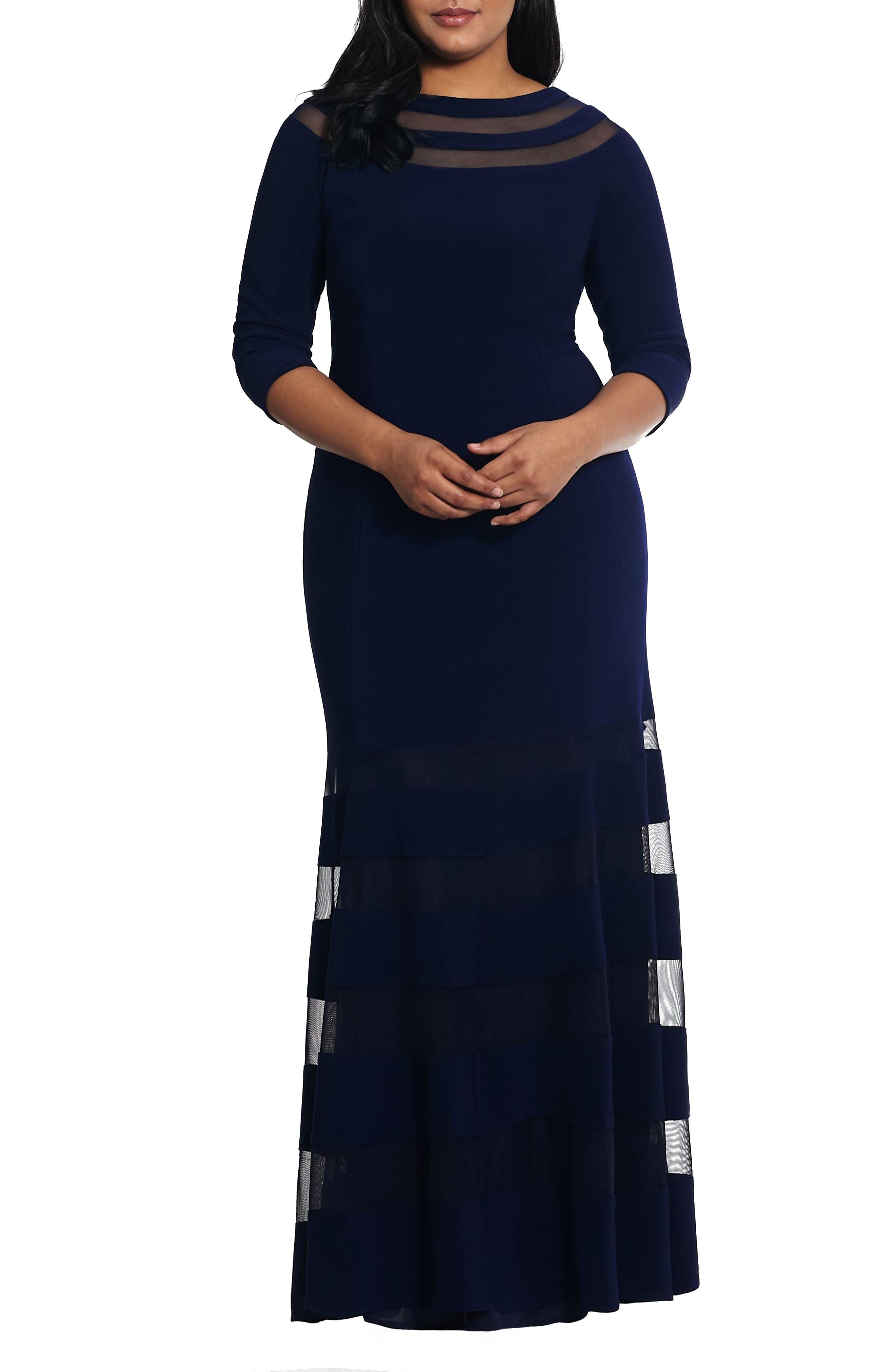 Plus Size Xscape Illusion Inset Gown, Blue