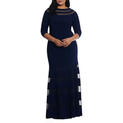 Plus Size Xscape Illusion Inset Gown, Blue
