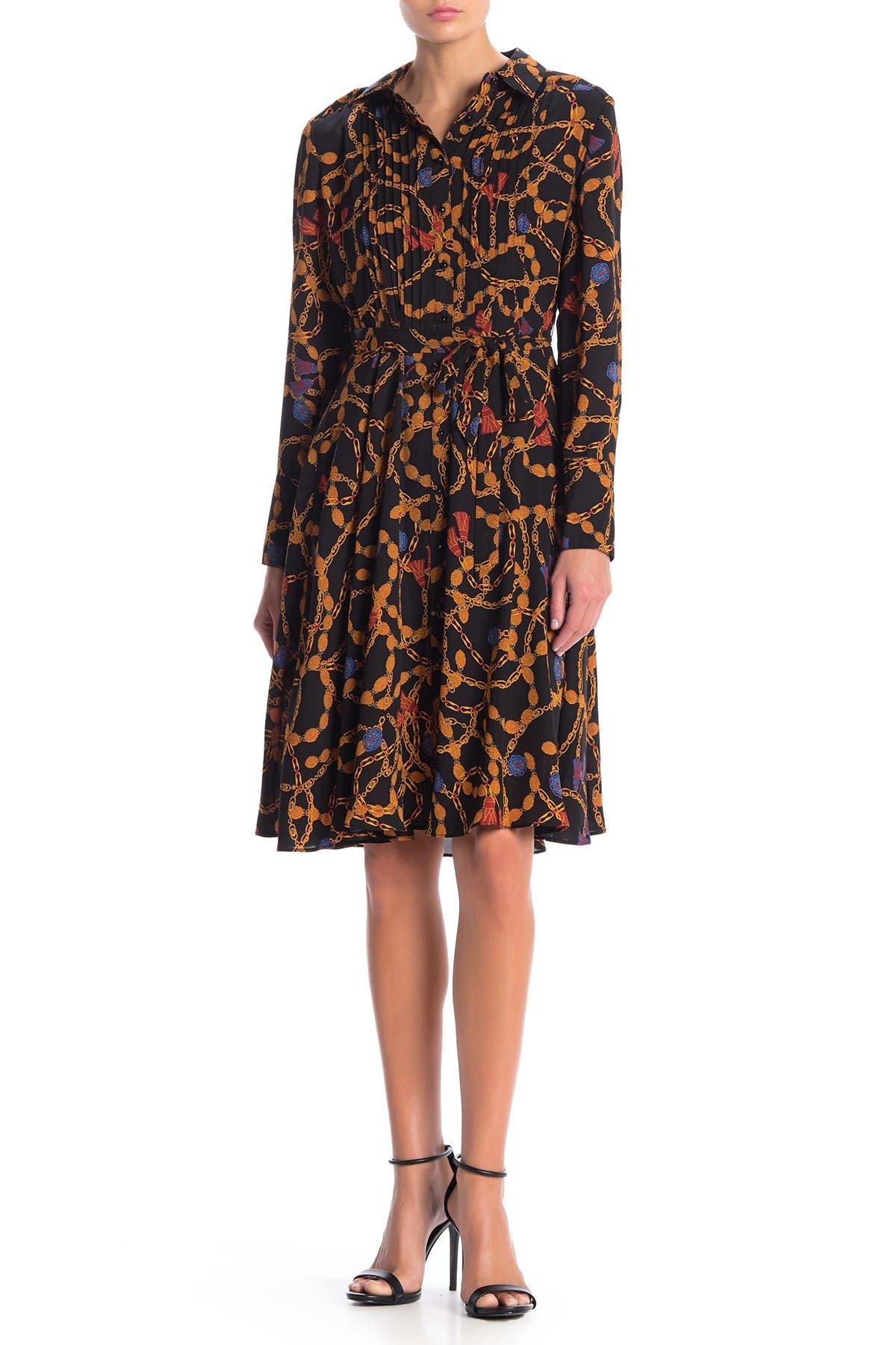 Image of Nanette Lepore Pintuck Long Sleeve A-Line Shirt Dress