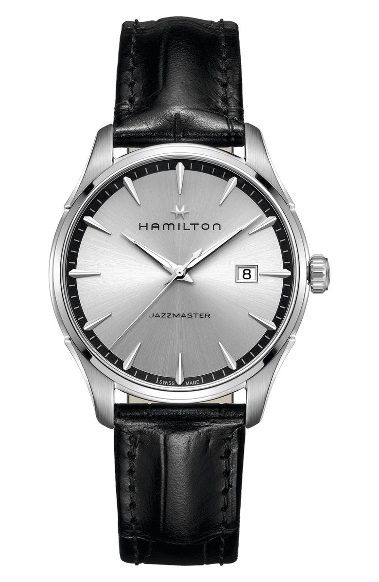 HAMILTON Jazzmaster Gent Leather Strap Watch, 40mm, Main, color, 001