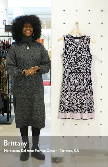 Print Sleeveless Fit & Flare Sweater Dress, sales video thumbnail