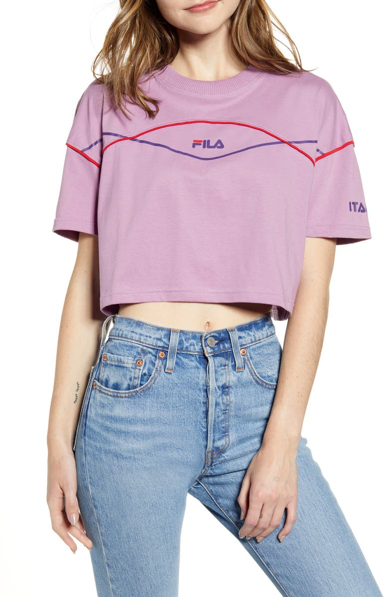 FILA Kana Crop Tee, Main, color, VALERIAN/ CROWN JEWEL