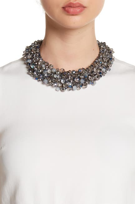 Image of Eye Candy Los Angeles Gray Bauble Wreath Collar Necklace