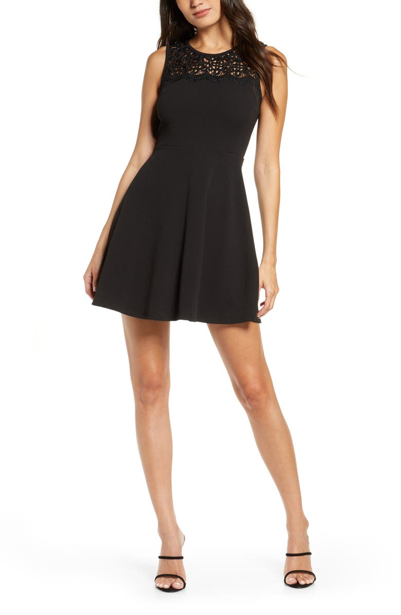 LULUS According to Love Lace Skater Dress, Main, color, BLACK