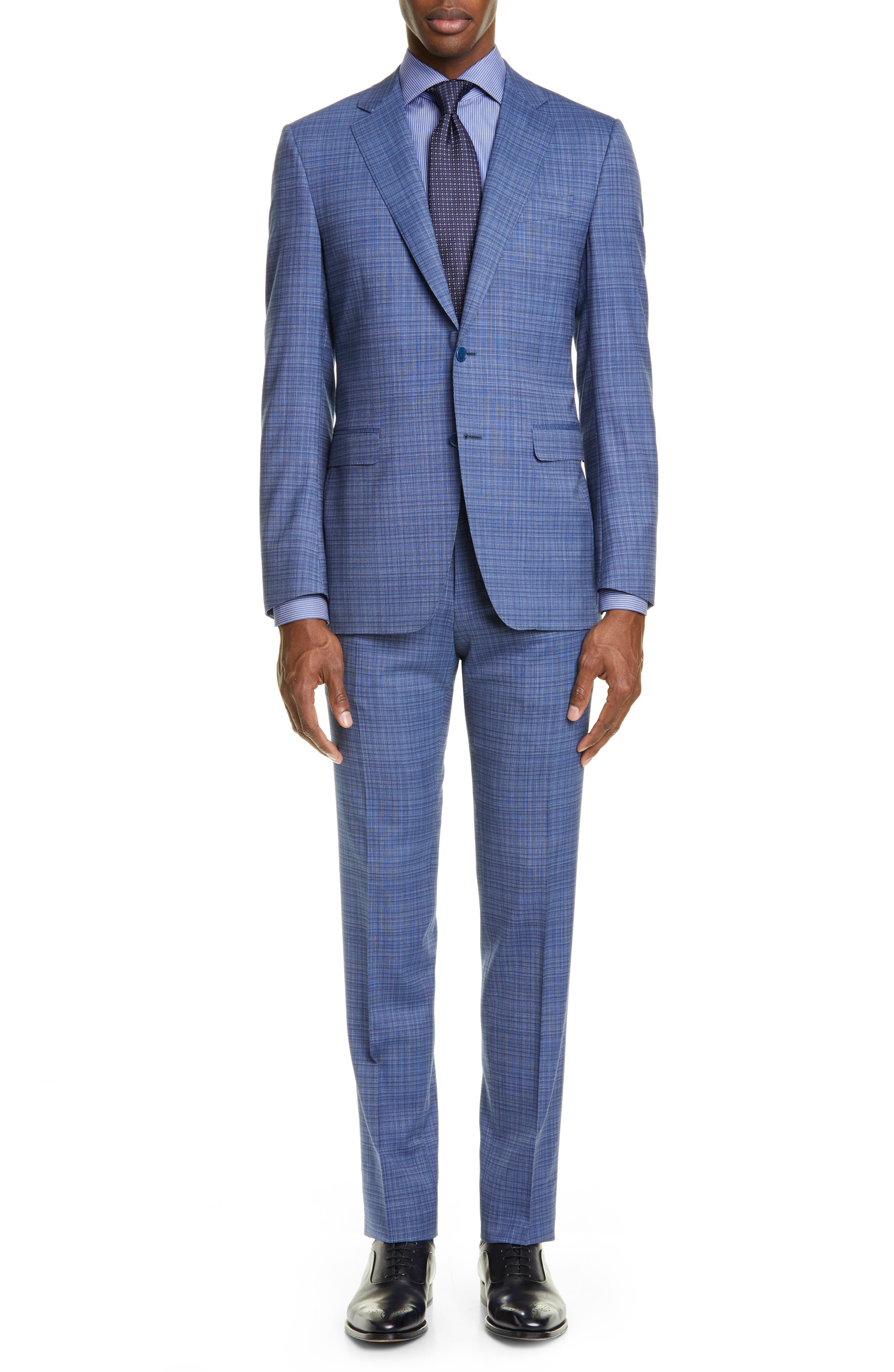 Milano Classic Fit Check Wool Suit, Main, color, BLUE