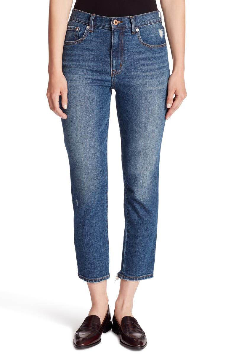 ELLA MOSS Raw Hem High Waist Slim Crop Jeans, Main, color, NIXIE