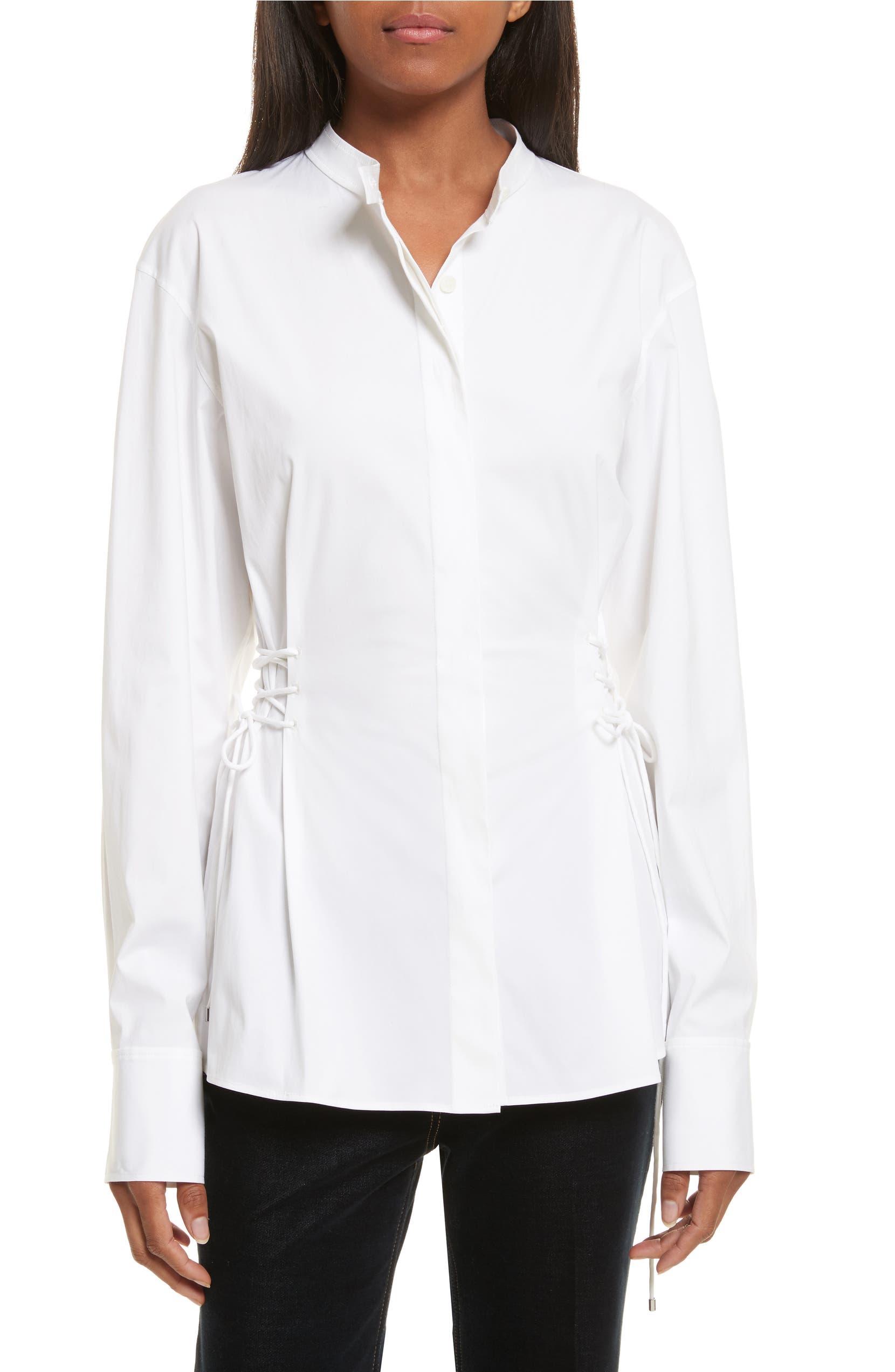 dba9927b0ef Theory Laced Stretch Cotton Shirt | Nordstrom