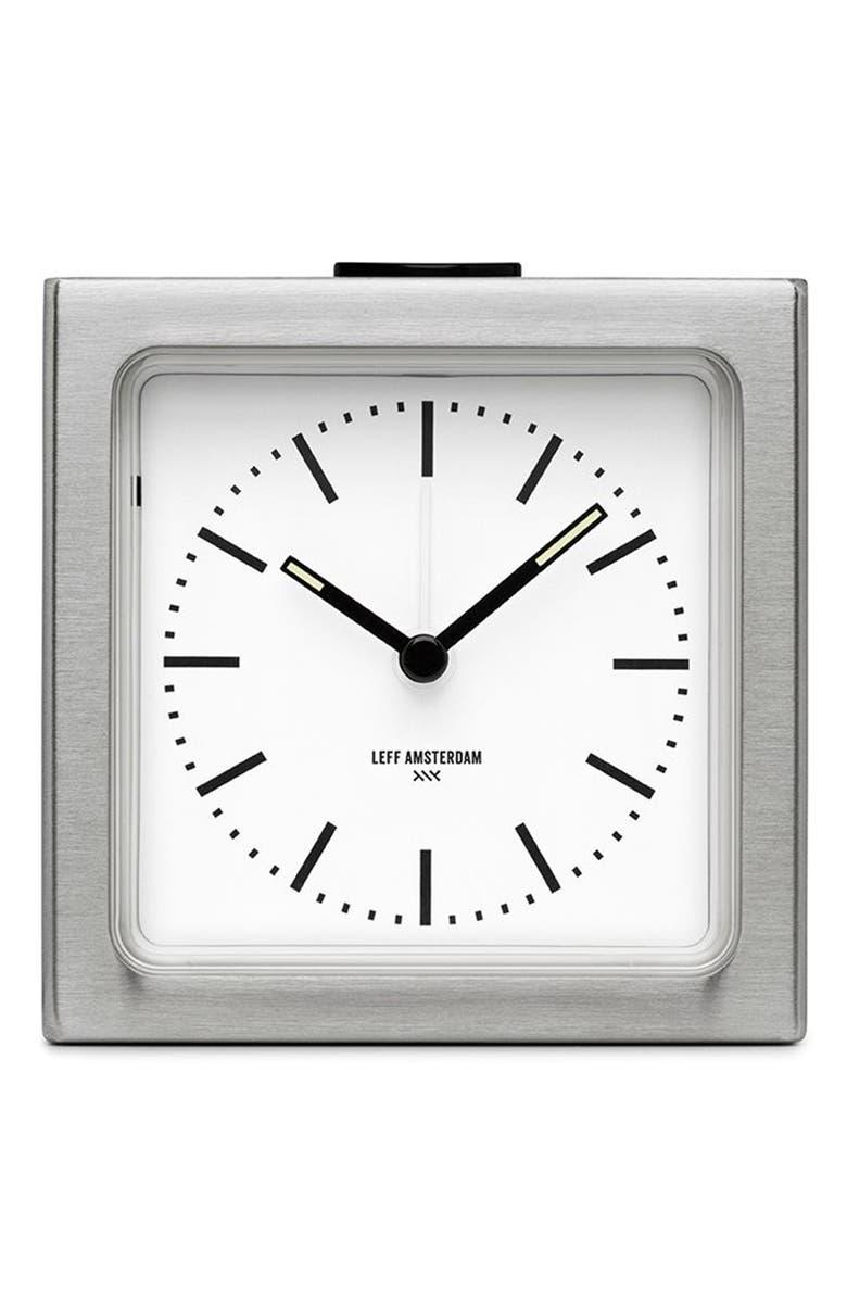 LEFF AMSTERDAM Block Alarm Clock, Main, color, STEEL/ WHITE