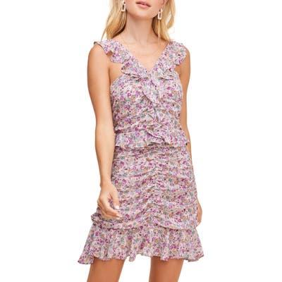 Astr The Label Zinnia Floral Print Minidress, Purple