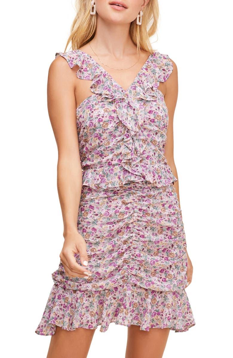 ASTR THE LABEL Zinnia Floral Print Minidress, Main, color, PINK PURPLE FLORAL PRINT