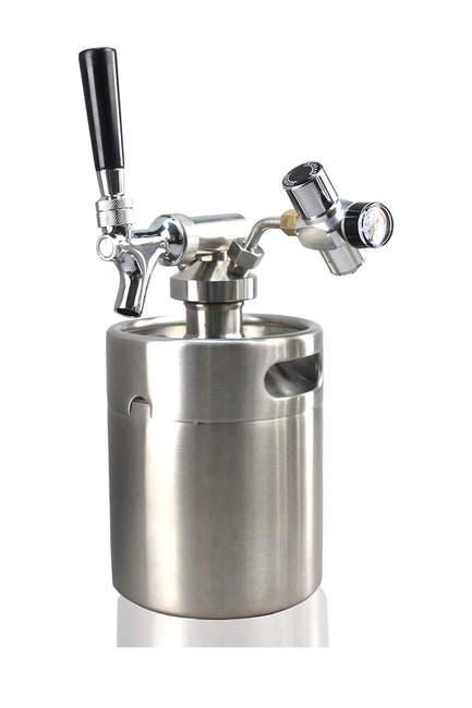 Image of NutriChef Homebrew Mini Keg - Stainless Steel CO2 Home Keg Dispenser System