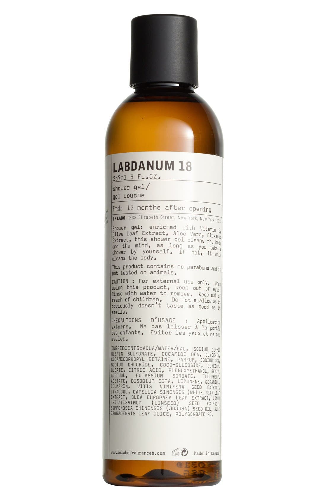 'Labdanum 18' Shower Gel, Main, color, NO COLOR