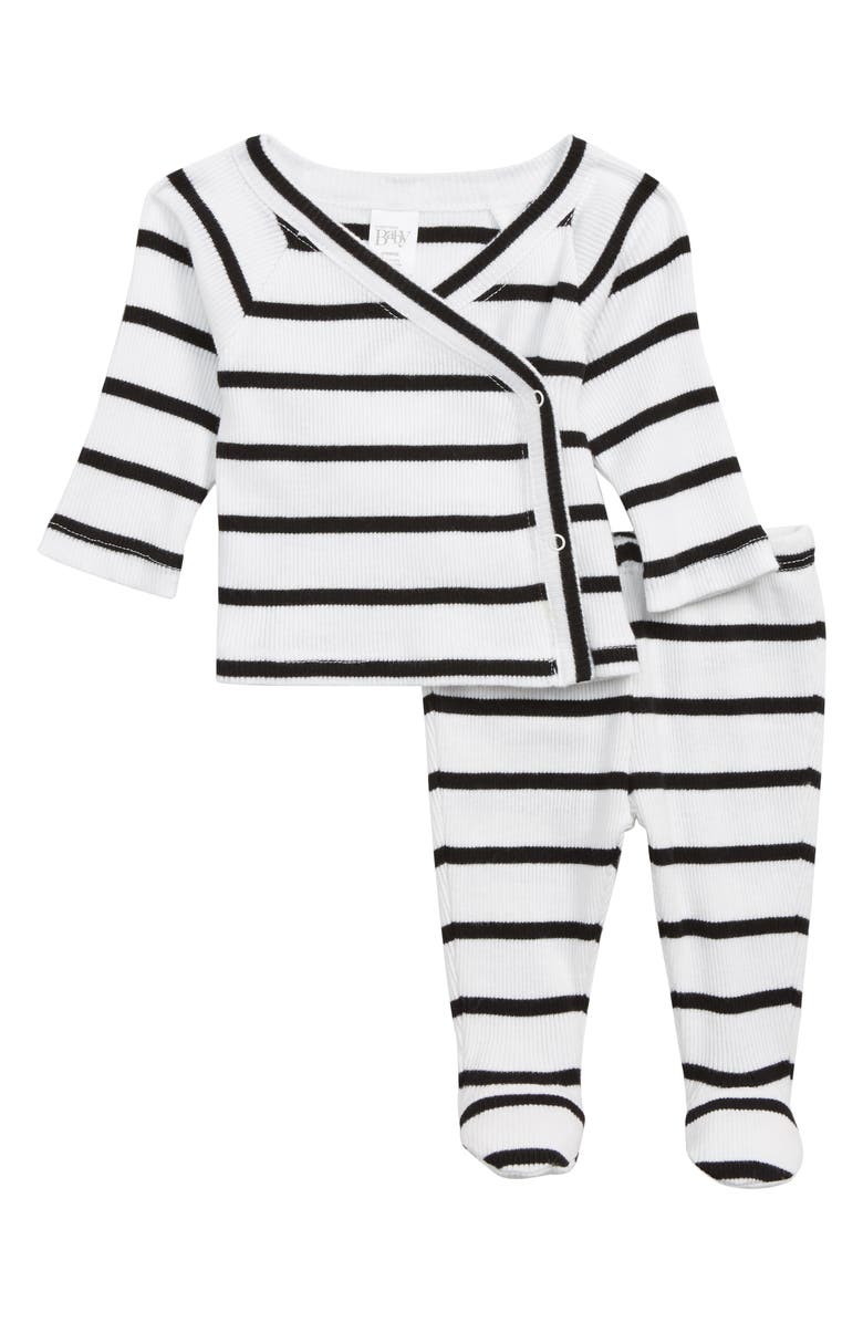 NORDSTROM BABY Wrap Top & Footed Pants Set, Main, color, 100