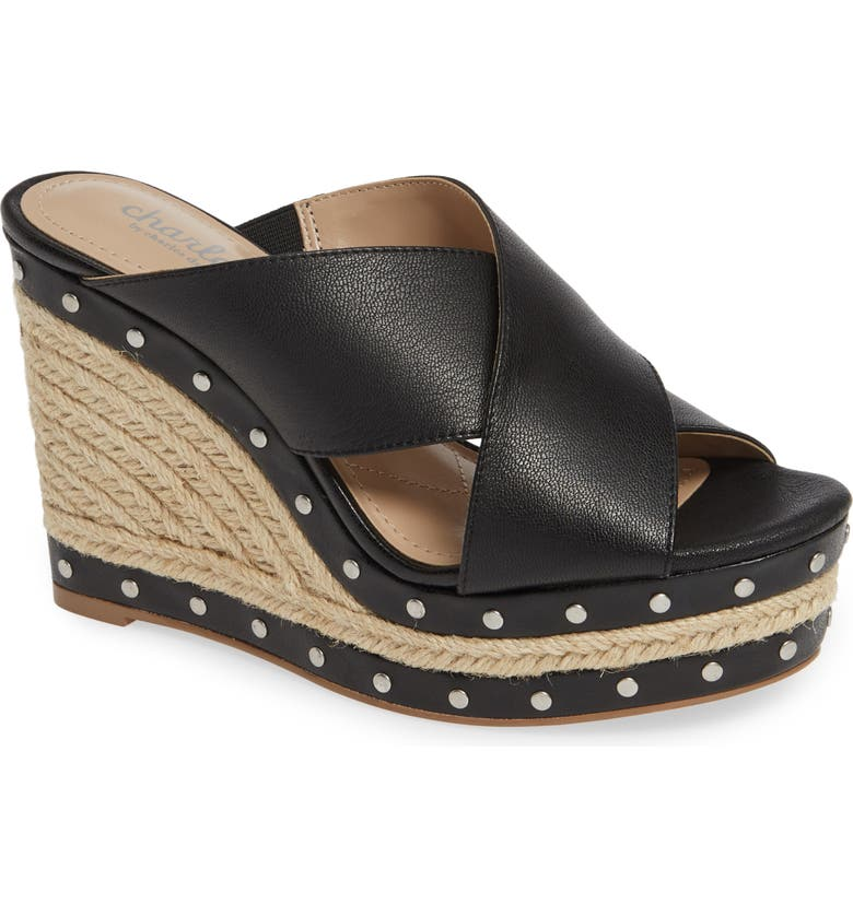 CHARLES BY CHARLES DAVID Leilani Espadrille Slide Sandal, Main, color, BLACK LEATHER