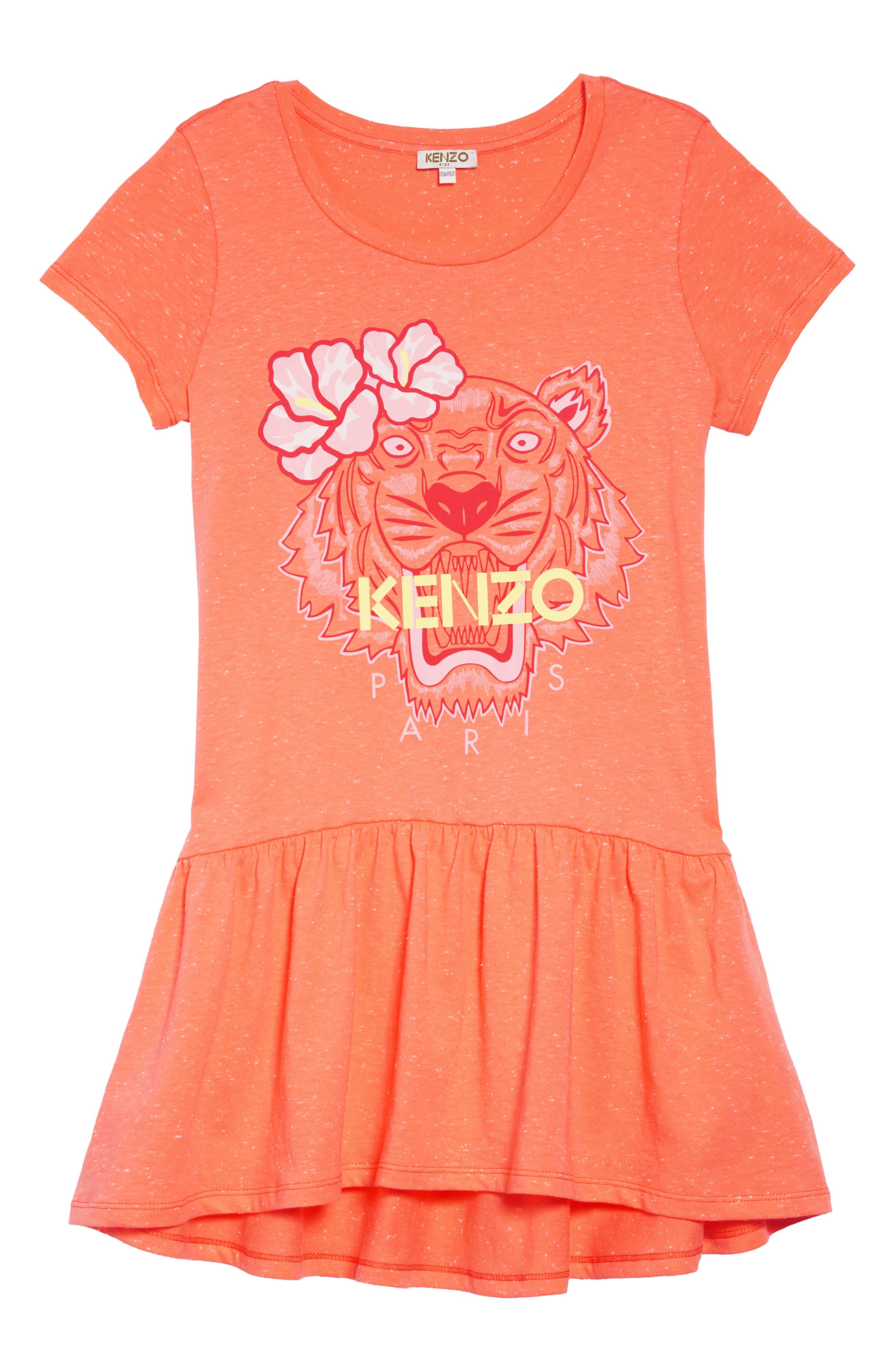 Tiger Graphic Drop Waist Dress, Main, color, APRICOT
