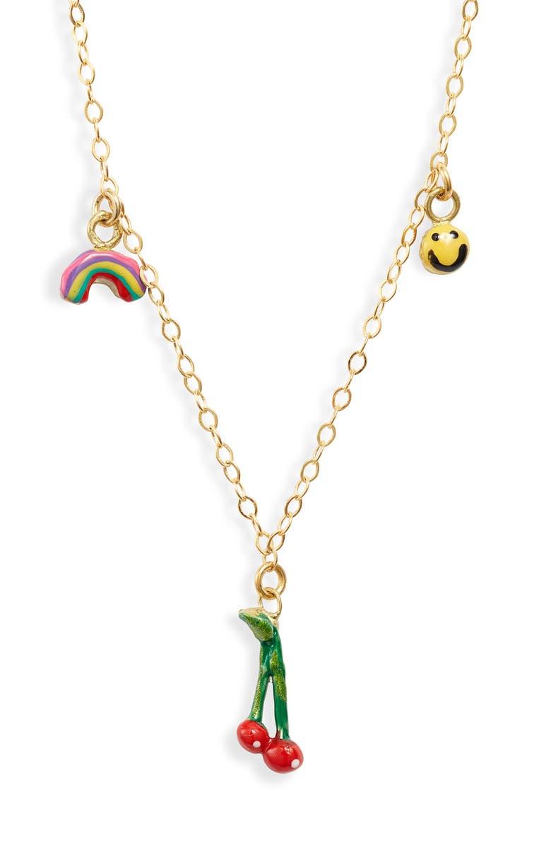 SUSAN ALEXANDRA Three Charms Necklace, Main, color, MULTI