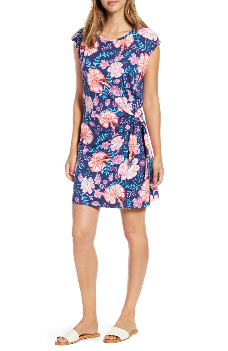TOMMY BAHAMA Flowers of India T-Shirt Dress, Main, color, ISLAND NAVY