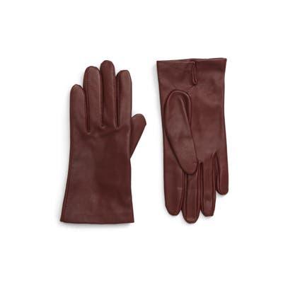 Nordstrom Lambskin Leather Gloves, Burgundy