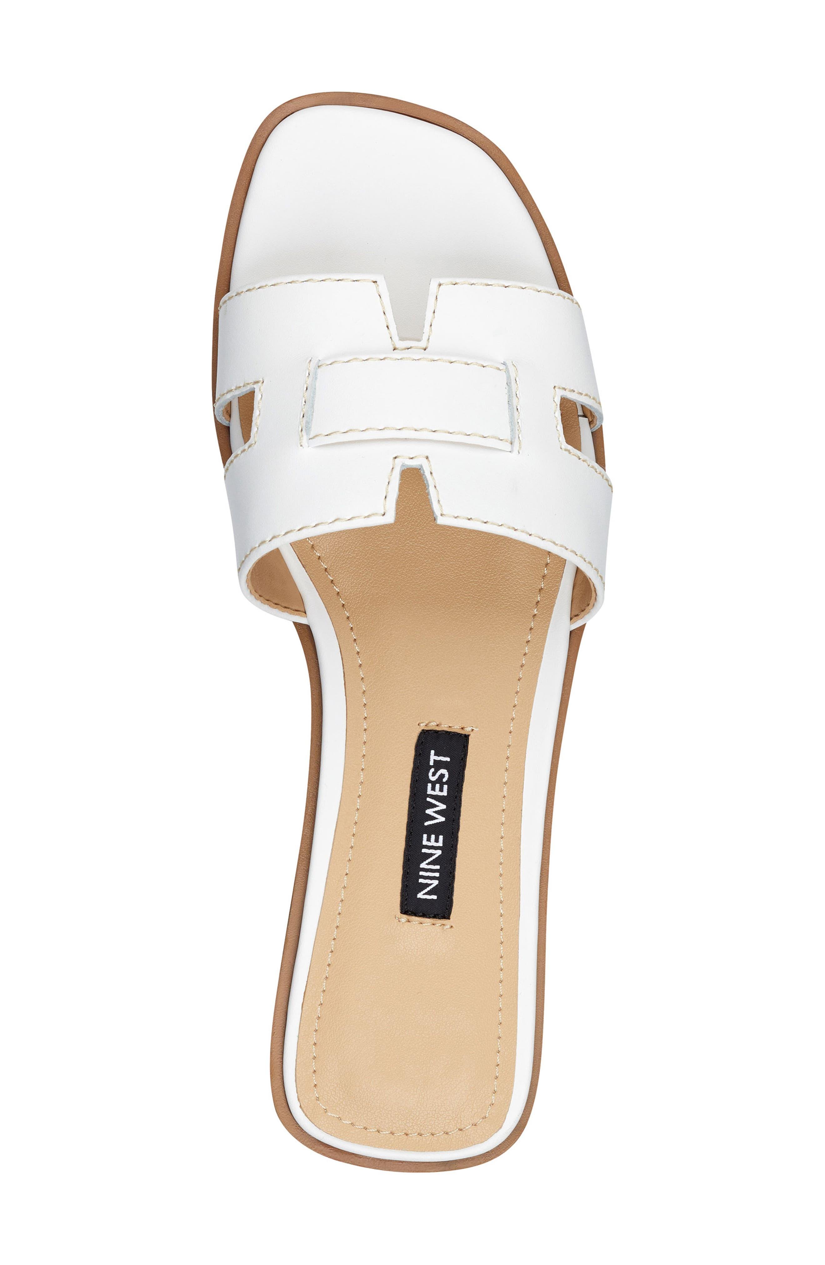 ,                             Gianna Cutout Slide Sandal,                             Alternate thumbnail 4, color,                             WHITE LEATHER