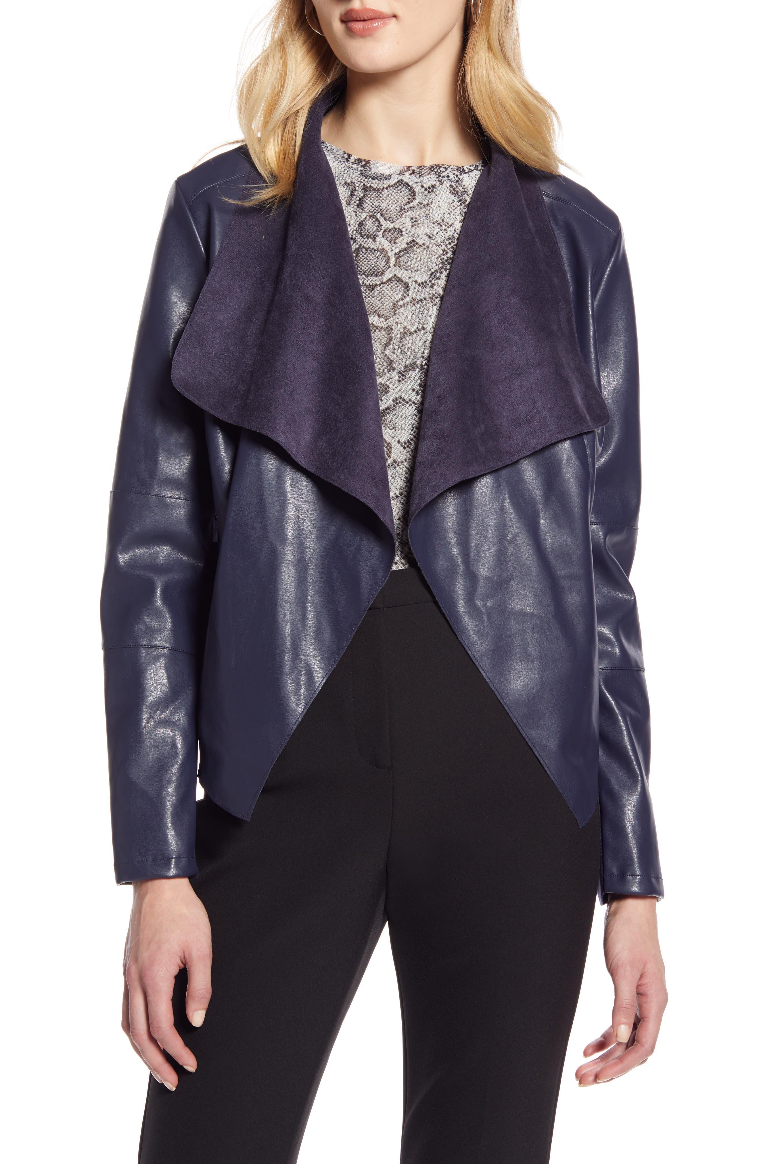 Image of Halogen Faux Leather Drape Front Jacket