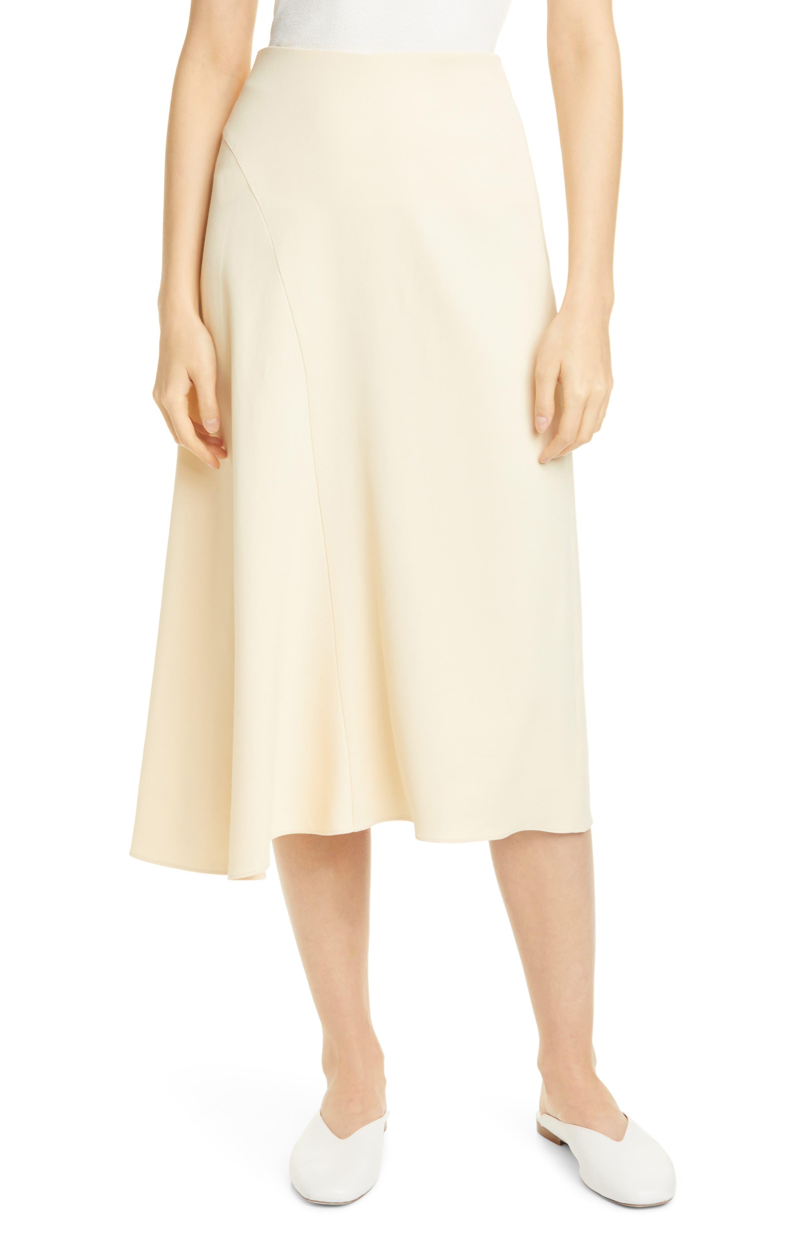 1930s Style Skirts : Midi Skirts, Tea Length, Pleated Vince Asymmetrical Seam Midi Skirt Size 12 - Naples Sun at Nordstrom Rack $139.97 AT vintagedancer.com