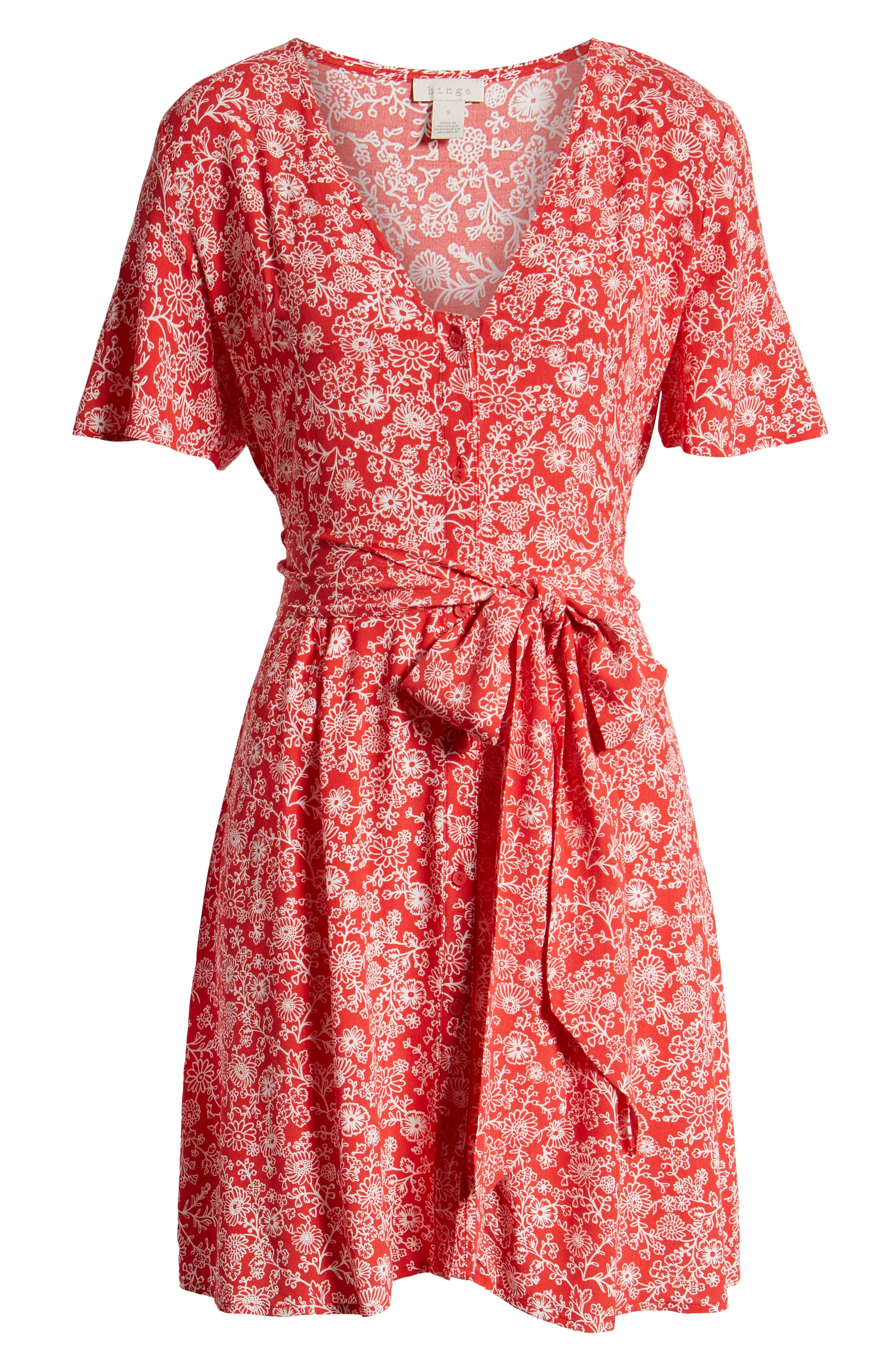 ,                             Floral Front Button Minidress,                             Alternate thumbnail 7, color,                             RED BLOOM VINED DAISIES