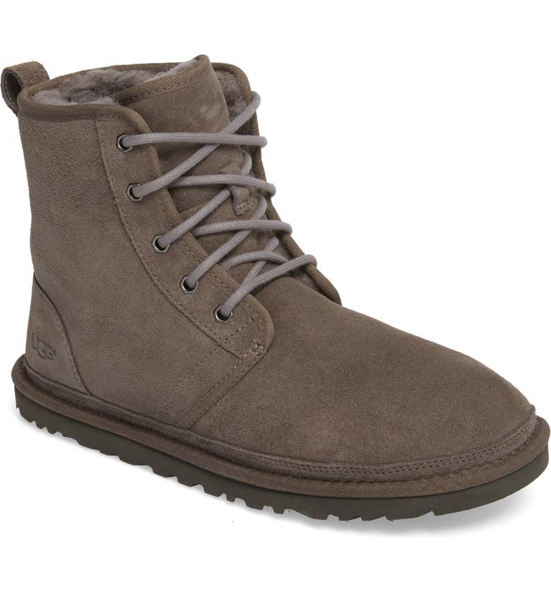 UGG<SUP>®</SUP> Harkley Lace-Up Boot, Main, color, CHARCOAL SUEDE