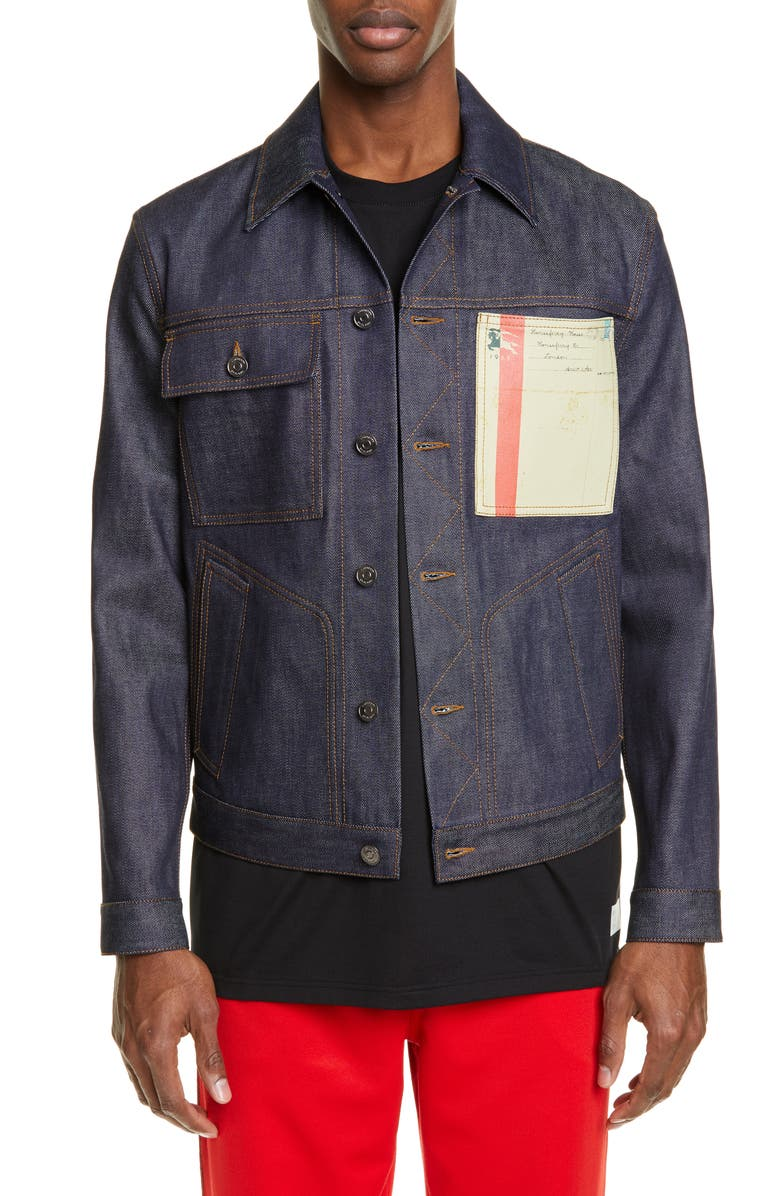 BURBERRY Landscape Print Raw Denim Jacket, Main, color, MID INDIGO BLUE