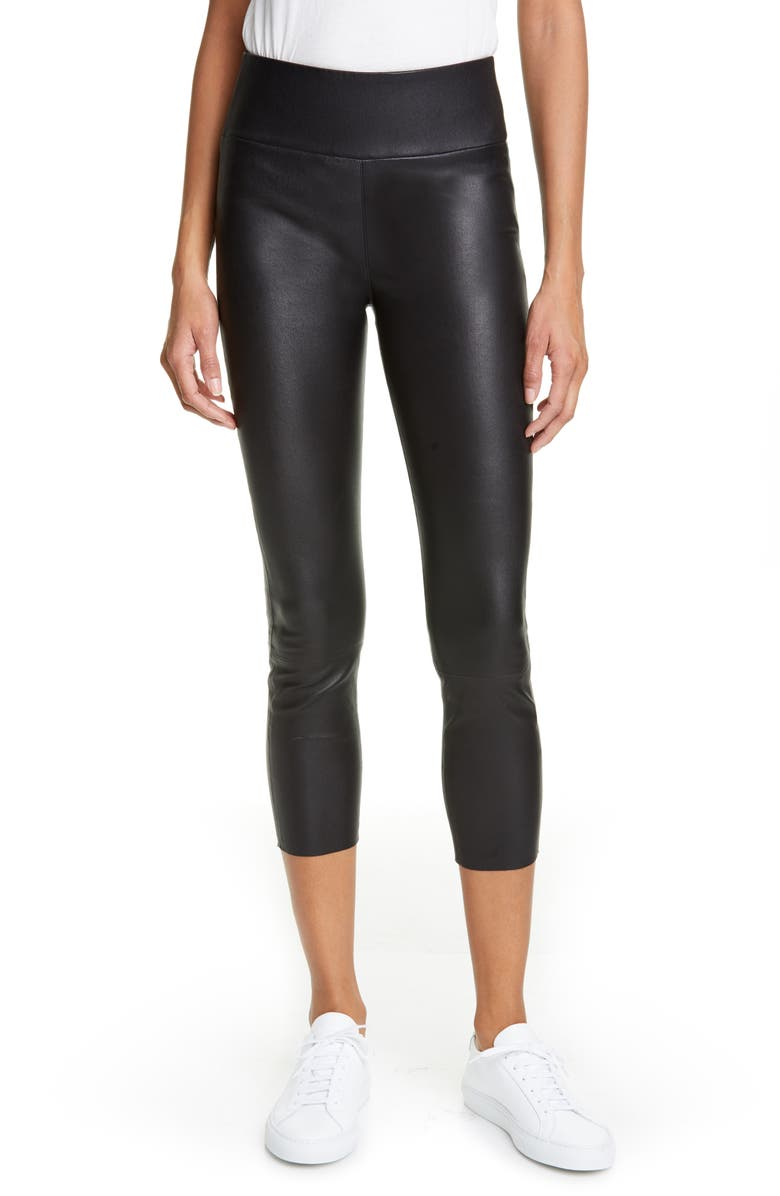 SPRWMN Leather Capri Leggings, Main, color, 001