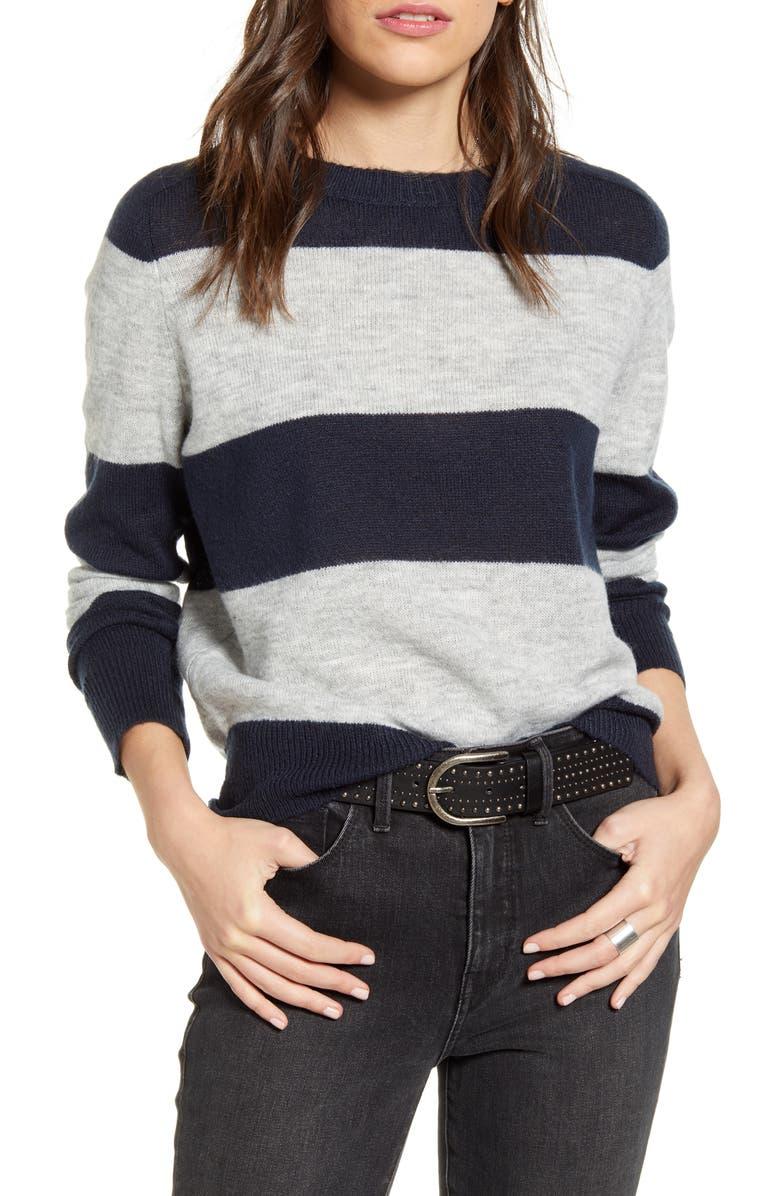 TREASURE & BOND Wide Stripe Crewneck Sweater, Main, color, NAVY- GREY WIDE CREW STRIPE