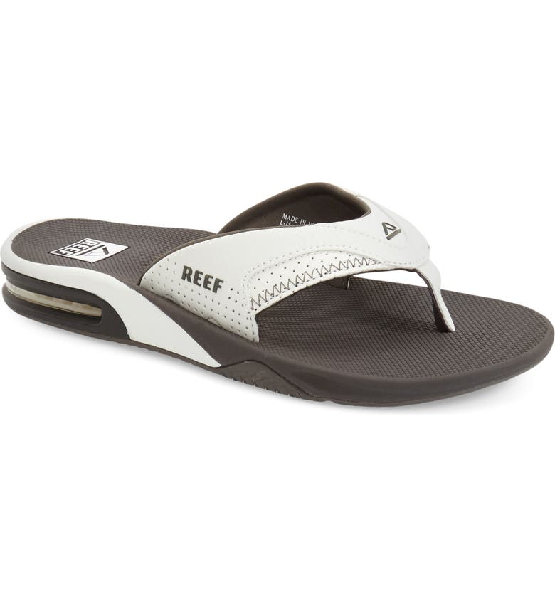 REEF 'Fanning' Flip Flop, Main, color, GREY/ WHITE