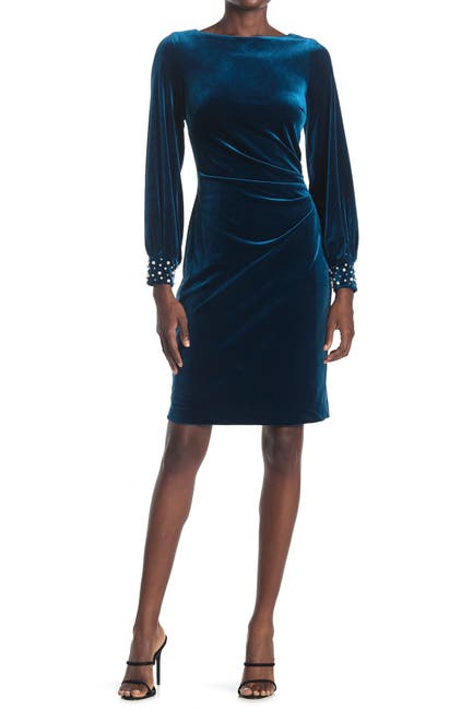 Image of Eliza J Balloon Sleeve Side Tuck Sheath Dress